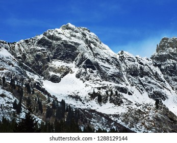 The first snow on the Alvier group mountain range - Canton of St. Gallen, Switzerland