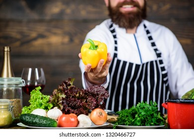 First step cooking dish pick best vegetable. Organic food. Fresh ingredients only. Vegetarian meal. Man cooking fresh vegetables. Culinary recipe concept. Chef use fresh organic vegetables for dish.