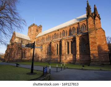 First Sunlight hits Carlisle Cathedral one of the smallest in England