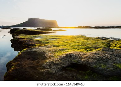 First sunrays at sunrise at Ilchulbong volcano crater with view over ocean and green moss stones, Seongsan, Jeju Island, South Korea