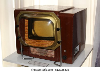 "The first television invented in the 1950s in the USSR, which was called ""KVN."" Consisted of a small screen and a huge lens. Museum exhibit in the Museum of History of Ukraine, Kiev, March 28, 2017."