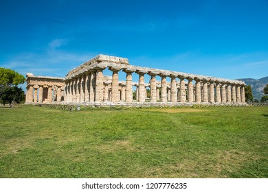 first temple of Hera, ancient Greek temple in the Doric order in Poseidonia (Paestum), Campania, Italy