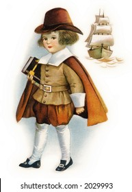 First Thanksgiving Pilgrim child holding Bible, with Mayflower ship - a circa 1919 vintage illustration by Ellen Clapsaddle
