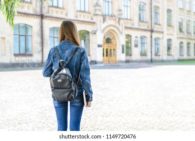 First time new year begin beginner start people person concept. Behind rear view photo portrait of focused confident lady with black bagpack casual closed blurred background