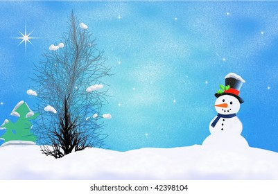 first winter snow illustration