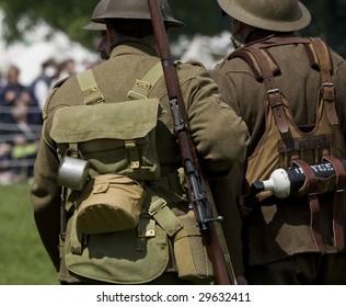 first world war british soldiers in a re-enactment