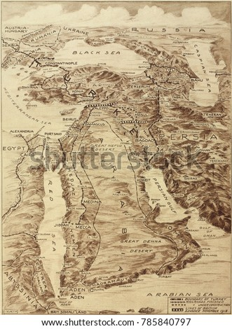 First World War Map Middle East Stock Photo Edit Now 785840797