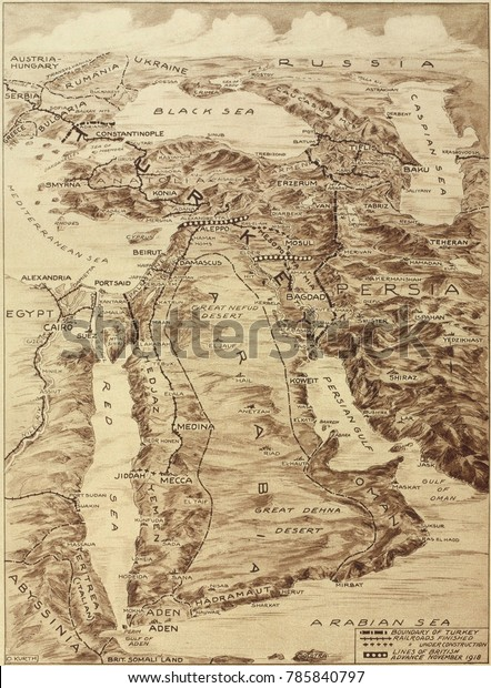 First World War Map of the Middle East. When defeated Turkey lost its Ottoman Empire, Britain and France implemented the Sykes-Picot Agreement and divided the Ottoman Empire into Nation-States.