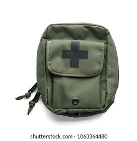 First-aid kit on white background