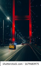First-person abstract inside view of night traffic on Bosphorus Bridge in Istanbul connecting two continent, Europe and Asia
