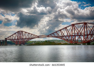 FIRTH OF FORTH, SCOTLAND - JUNE 2: Bridges in 2 June, 2017 at Firth of Forth. Bridges above the Forth made transport much easier between Edinburgh and the north.