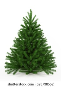 Fir-tree. Christmas tree isolated on a white background. 3d rendering.