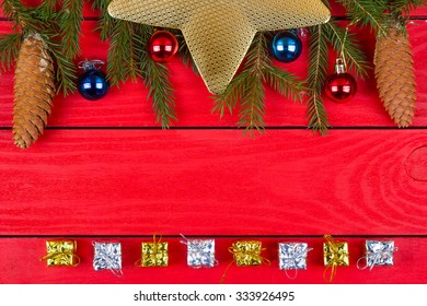 Fir-tree jewelry on red boards