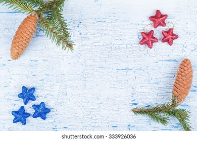 Fir-tree jewelry on white old boards