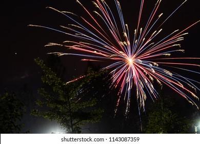 firworks in a dark sky to celebrate