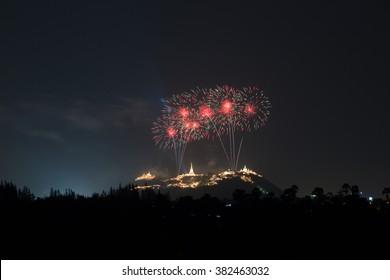 Firworks at the mountain, Thailand, Pranakornkiri, Petchaburi