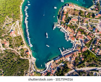 Fiscardo Cephalonia bay top down birds eye view