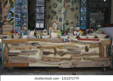 Fiscardo, Greece - June, 3: The handmade Greek products in the souvenir shop. June, 3 2015