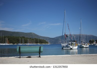 Fiscardo, Greece - June, 3: Small bay in a Greece. Greek town surround by mountains and sea. Fiscardo, Kefalonia, Grecce, June, 3 2015