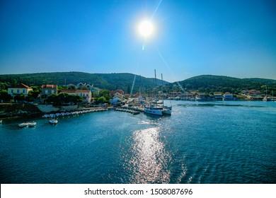 Fiscardo port on Kefalonia island during sunset, Greece