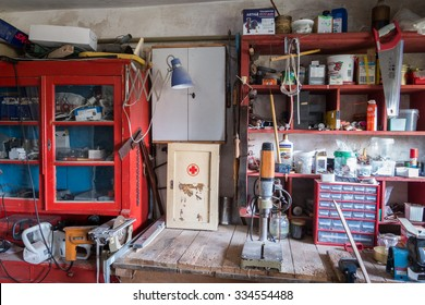 FISCHBACH, GERMANY - May 01 2015:  miscellaneous stuff stored in home workshop