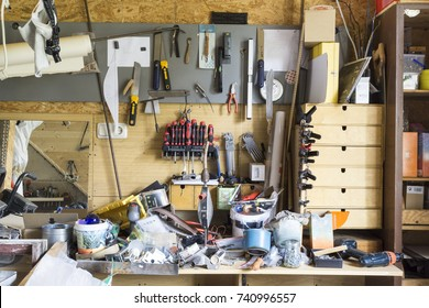 FISCHBACH, GERMANY - October 24 2017: miscellaneous stuff stored in home workshop