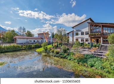 Fischen - View to village Fischen with Trainstation and Spa Hotel, Bavaria, Germany, Oberstdorf 25.09.2017