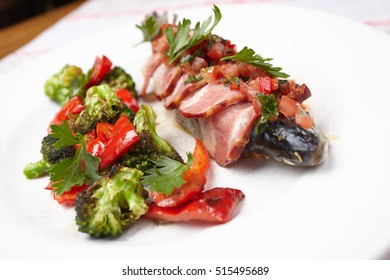 fish in the bacon
