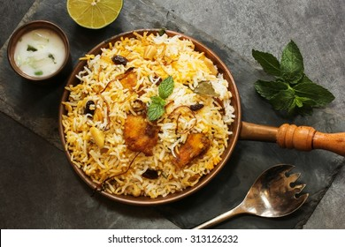Fish Biryani overhead view