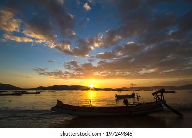 Fish boat at sunrise in Asia.Lombok island.Indonesia.
