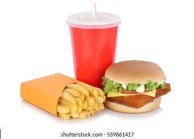 Fish burger fishburger hamburger and fries menu meal drink isolated on a white background