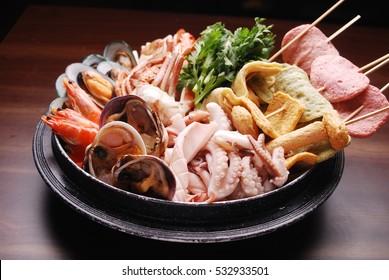 Fish cake and seafood hot pot
