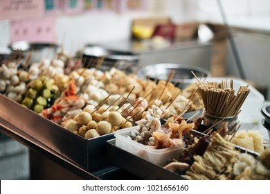 Fish cake and seafood skewer in Macau local street market