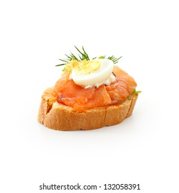 Fish Canapes - Graved Salmon Fillet with Egg and Horseradish Cream