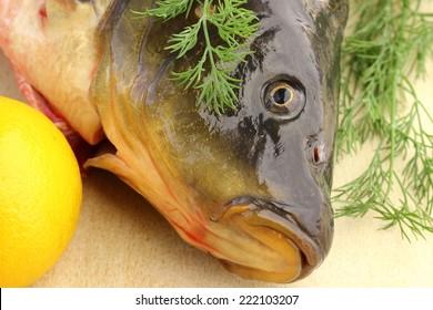 fish carp on a table