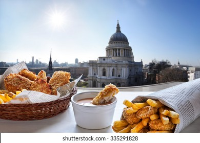 Fish and Chips against St. Pauls Cathedral in London.