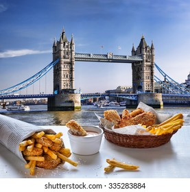 Fish and Chips against Tower Bridge in London, England