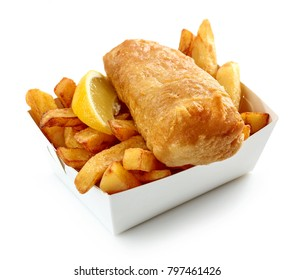 Fish and Chips box isolated on white background