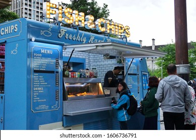Fish and chips, food truck at the Jubilee Garden, Near London Eye, London, England. Photo was taken on 15/06/2019.