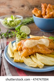 Fish and chips, homemade delicious with pesto from peas