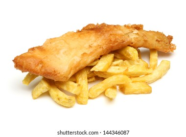 Fish and chips isolated on white.