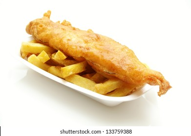 fish and chips on tray