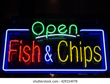 Fish and Chips restaurant neon sign background