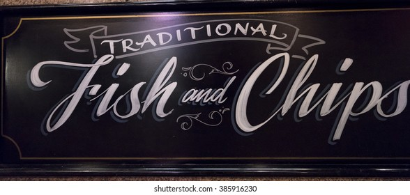 Fish and Chips sign  LONDON, ENGLAND - FEBRUARY 22, 2016