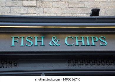 Fish and Chips Sign on Shop Front