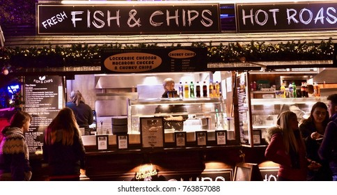 Fish and Chips stall at the German Market in Edinburgh, Princes street gardens, Edinburgh, Scotland UK. November 2017