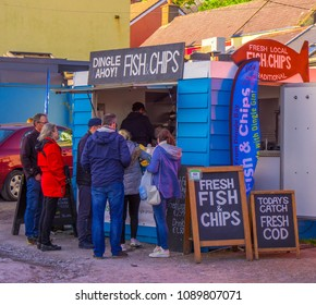 Fish and Chips street sale in Dingle - KERRY / IRELAND - MAY 6, 2018