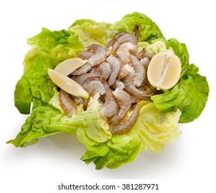 Fish composition cut shrimp with lemon and salad