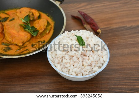 Fish Curry Rice Cooked Brown Rice Stock Photo Edit Now 393245056