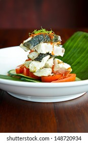 Fish Dish - Halibut fillet with Mushrooms and Tomatoes